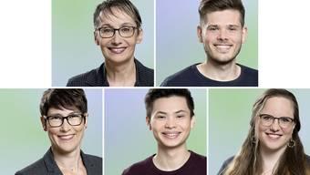 Von links oben: Elisabeth Burgener, Rolf Schmid, Colette Basler, Fabio Haller und Daniela Leimgruber.