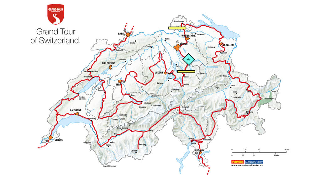 Karte der Grand Tour of Switzerland