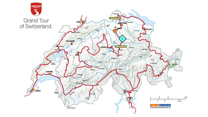 Karte der Grand Tour of Switzerland
