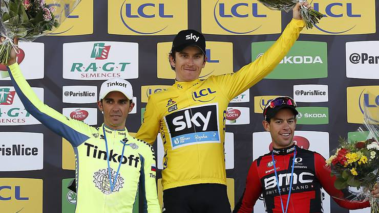 Der Brite Geraint Thomas (Mitte) feiert bei Paris - Nizza seinen ersten Gesamtsieg vor dem Spanier Alberto Contador (links) und dem Australier Richie Porte (reachts).