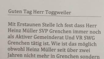 Das anonyme Schreiben ist auch auf der Redaktion des Grenchner Tagblatts eingegangen.