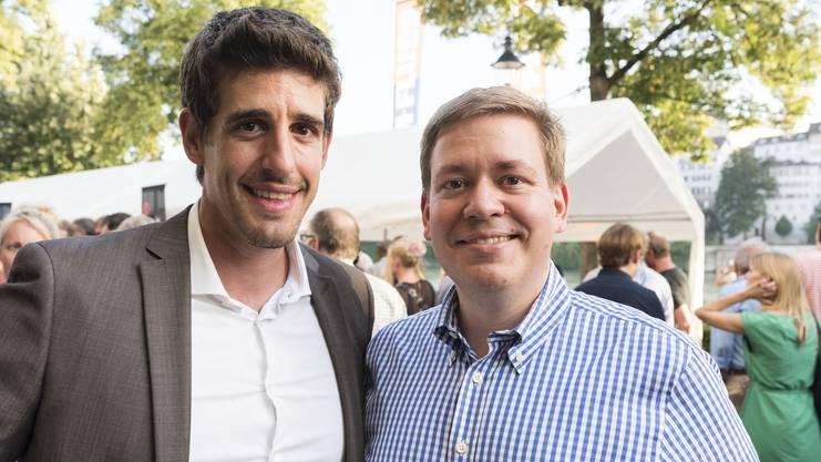 Zwei Männer, zwei Grinsen Mark Scherrer (links) und Balz Herter als CVP-Hoffnung beider Basel.