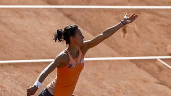 Vikrorija im Glück: Die Schweizerin Golubic nutzte eine kurze sonnige Phase zum wertvollen Sieg gegen Mona Barthel