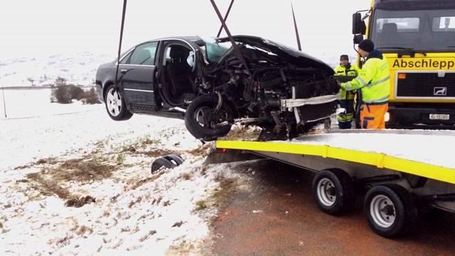 Verkehrsunfälle wegen erneutem Wintereinbruch