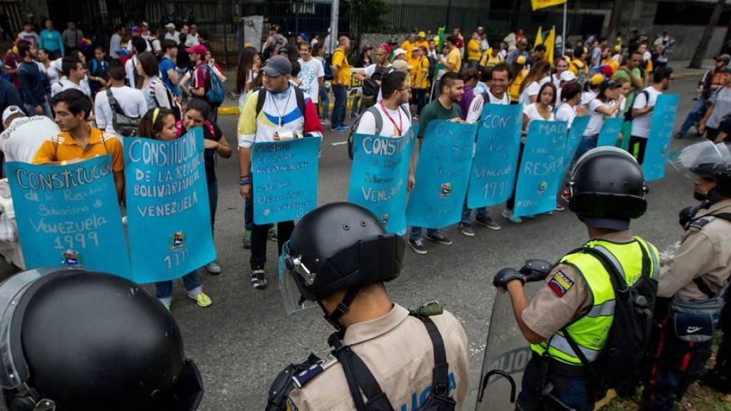 Kundgebung gegen die Regierung Maduro am Donnerstag in Caracas.