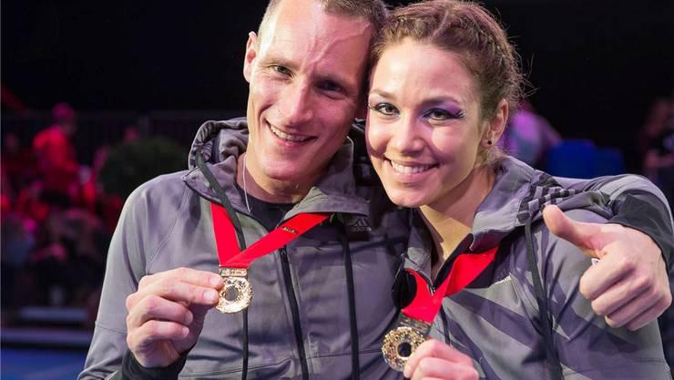Michel Anken und Ramona Probst strahlen nach ihrem dritten Titelgewinn.