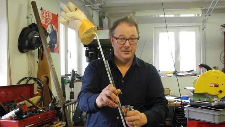 Die Werkstatt von Stefan Heuss in Dietikon ist gleichzeitig auch Probelokal.