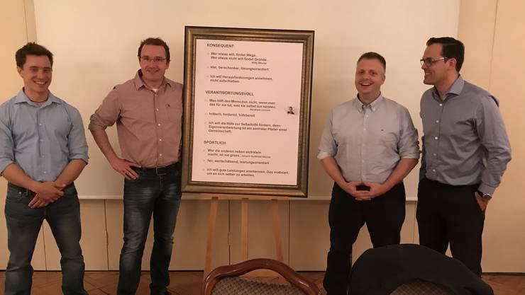 Präsident Bruno Zimmermann mit den drei neuen Vorstandsmitgliedern Jonas Graf, Andreas Bärtsch und David Stirnemann.