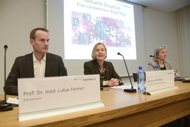 Lukas Fenner, Susanne Schaffner und Brigit Wyss am Montagabend an der Medienkonferenz.