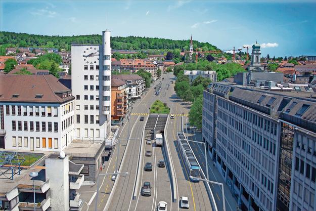 Zwei Spuren verschwinden im Tunnel, übrig bleiben zwei Fahrspuren und die Tramlinie auf der Rosengartenstrasse. Das Bild zeigt nur eine mögliche Gestaltung des Tunnelportals in Wipkingen