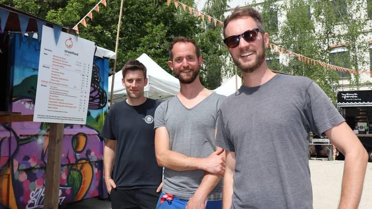 Soul Food Festival: Die Organisatoren Simon Stäuble, Patrick Mösch und Lukas Schaub zeigen zum Auftakt bestens gelaunt.