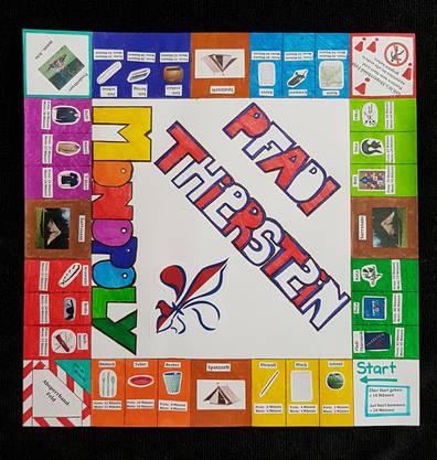 """Die Vorlage für unser Persönliches Monopoly-""""Spielbrett"""".  Am Schnuppernachmittag ist die bessere Bezeichnung: Monopoly-""""Spielfeld""""."""