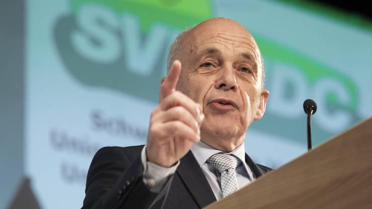 SVP-Bundesrat Ueli Maurer motivierte am Schluss der Versammlung für den Wahlkampf.