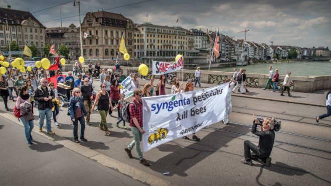Demonstranten protestierten gestern in Basel gegen Monsanto und Syngenta. Foto: Alexander Preobrajenski