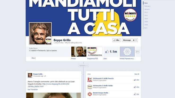 Beppe Grillos Facebook-Seite gefällt über 1,1 Millionen Fans.