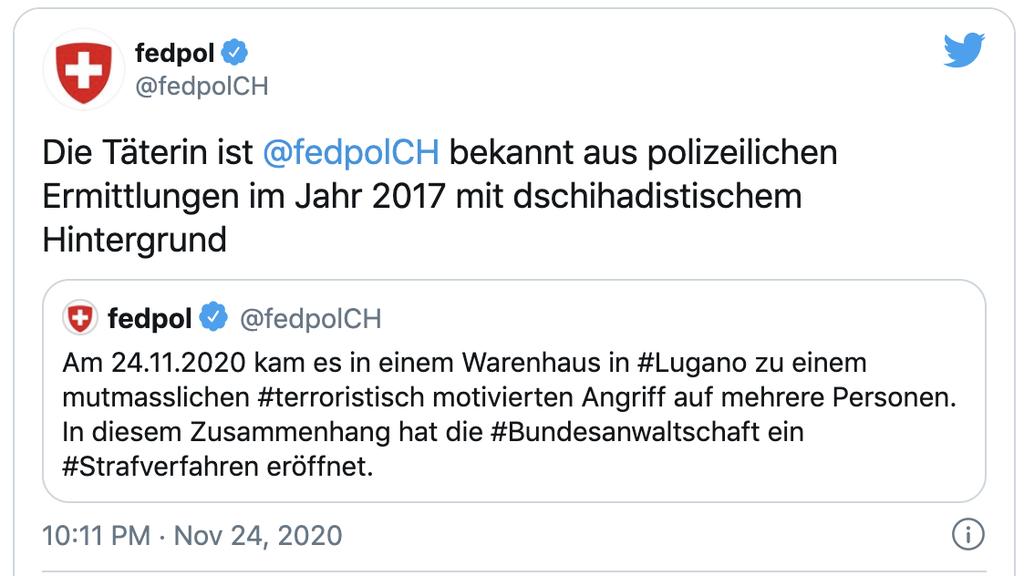 Stellungnahme des Fedpol