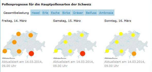Meteo Schweiz liefert eine Übersicht der Pollenbelastung, nach Auslöserpflanzen gefiltert (Weblink beim Kasten unten)