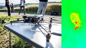 Mittels Drohne und Wärmebildkamera werden Rehkitze in Feldern erkannt und so vor dem Tod durch Mähmaschinen bewahrt.
