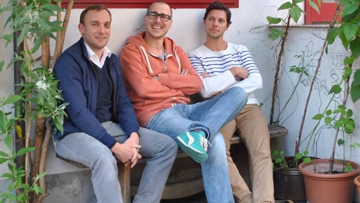 Urs Haerden, Markus Reinert und Simon Libsig (v.l.) von Stoffwechsel vor dem Royal. lvo