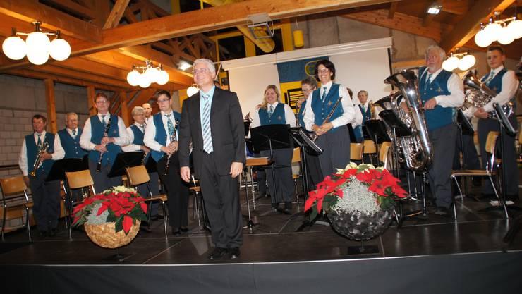 Die Musikgesellschaft Fridau Egerkingen bei ihrem diesjährigen Jahreskonzert