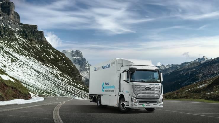 So sehen die Wasserstoff-LKW von Hyundai aus.