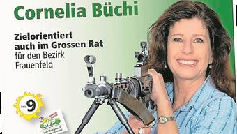 Wähler im Visier? Mit dieser Postkarte ging Cornelia Büchi (SVP) auf Stimmenfang.