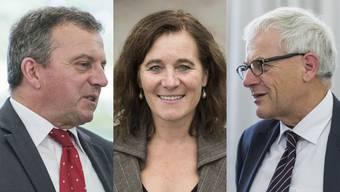 Walter Wobmann (SVP)  muss auf seine Stammwählerschaft setzen, Franziska Roth (SP) und Kirt Fluri (FDP) punkten auch überparteilich.