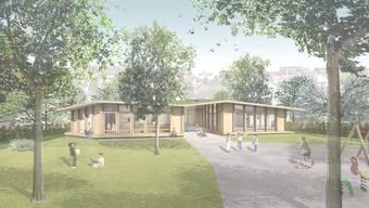 Der geplante Kindergarten soll eine erdgeschossige Holzkonstruktion werden.