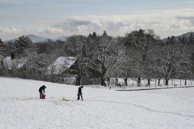 Der erste Schnee auf der Baldegg in Baden.