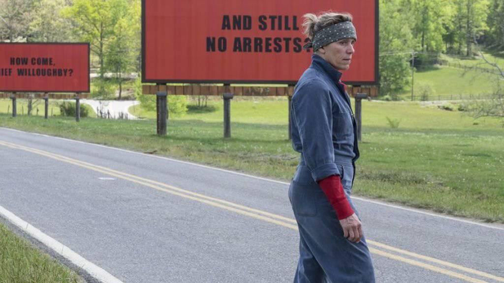 """Frances McDormand ist für """"Three Billboards Outside Ebbing, Missouri"""" (Bild) für einen SAG Award in der Sparte weibliche Hauptrolle nominiert. Der Film erhielt insgesamt vier Nominationen. (Archivbild)"""