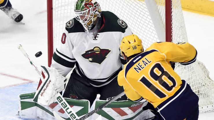 Minnesotas Goalie Devan Dubnyk musste sich bei der Niederlage in Nashville dreimal bezwingen lassen