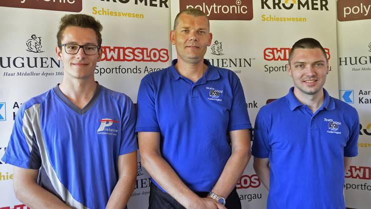 Das Spitzentrio der Pistolenschützen im A-Match auf 50 m: (von links) Michael Widmer (2.), Dieter Grossen (1.) und Thomas Vock (3.).