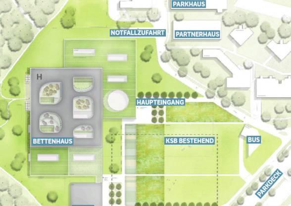Übersicht über das KSB-Gelände mit neuem Bettenhaus und den Neubauten Parkhaus, Partnerhaus und Kubus.
