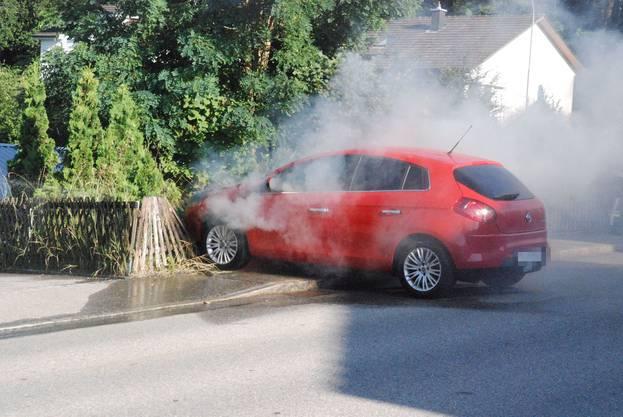 Der Fiat überrollt einen Gartenhag.