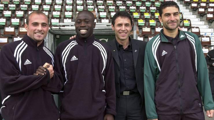 St.Galler Meisterhelden Trainer Marcel Koller (Zweiter von rechts) und die drei Stürmer Giorgio Contini, Charles Amoah und Ionel Gane (von links).