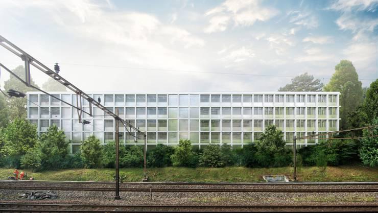 """Im Bild: Der geplante Neubau """"xy"""" für die Winterthurer Bezirksanlage. (Visualisierung)"""