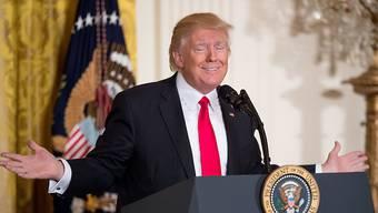 Zufrieden mit sich selbst: US-Präsident Trump bei seiner ersten Zwischenbilanz.