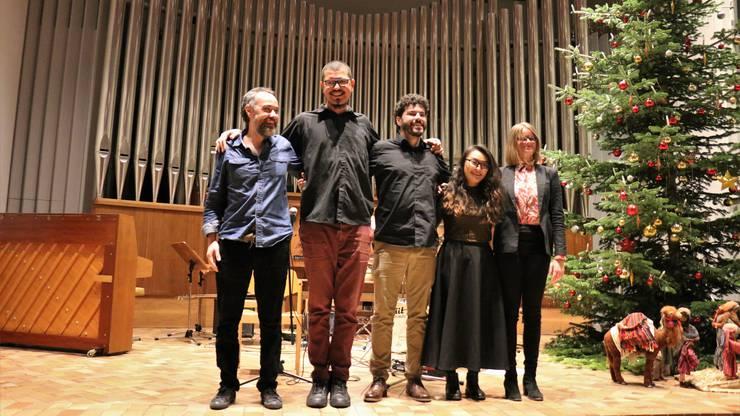 Gelungenes Zusammenspiel: das Vinicius Gomes Quartett, Organistin Helga Váradi und Sängerin Song Yi Jeon.