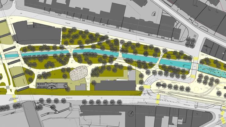 Zentral: Der Neubau der Kuppel (rot) soll an einem leicht versetzten Standort das Zentrum des neuen Parks zwischen Zolli (links) und Heuwaage werden. (zvg)