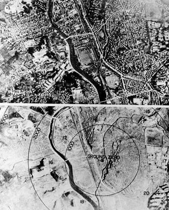 Nagasaki vor und nach dem Atombomben-Angriff (Archiv)