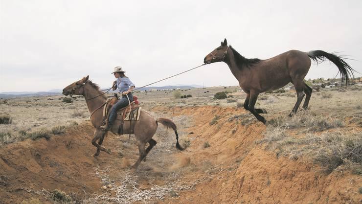 Die Bündnerin Letizia «Zia» Reato trainiert auf ihrer «Rosi» einen wilden Mustang ausserhalb des Geheges auf einer Ranch in Santa Fe (USA).