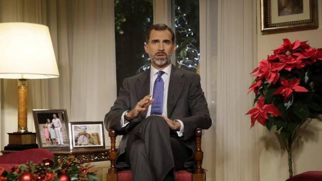 Der spanische König Felipe hält seine erste Weihnachtsansprache