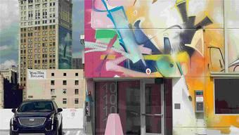 Diese Aufnahme hat den Fall ins Rollen gebracht: General Motors warb für seinen Cadillac neben der Graffitiwand des Baslers Smash 137.