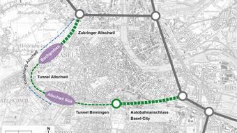 Beide Basel wollen den Zubringer Allschwil zügig vorantreiben. Der Gundelitunnel (Anschluss Basel-City) und die Tunnels Allschwil/Binningen könnten folgen.