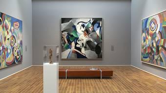 """Die Gemälde """"Hommage an Blériot"""" von Robert Delaunay, """"Udnie"""" von Francis Picabia und """"Elektrische Prismen"""" von Sonja Delaunay (von links nach rechts) in der Ausstellung """"Kosmos Kubismus. Von Picasso bis Léger"""" im Kunstmuseum Basel; im Vordergrund der """"Tänzer """"von Alexander Archipenko."""