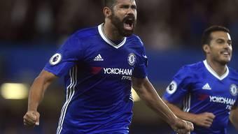 Diego Costa jubelt über sein Siegestor für Chelsea gegen West Ham United