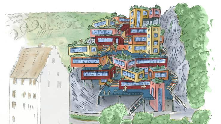 An bester Lage über dem Landvogteischloss: Im Container-Dorf könnten Studenten, Handwerker und Kreative leben und arbeiten