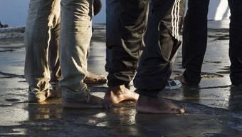 Gerettete Flüchtlinge auf der italienischen Insel Lampedusa.