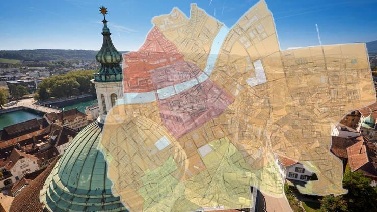 Die Stadt ist in mehrere Zonen unterteilt.