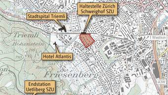 Die Familienheim-Genossenschaft (rot markiert) soll weichen, damit verdichteter gebaut werden kann.